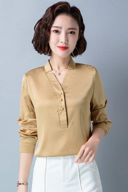 Korean Fashion Silk Women Blouses Satin Office Lady Shirt and Blouse Loose Long Sleeve Blusas Largas Plus Size Womens Tops 6