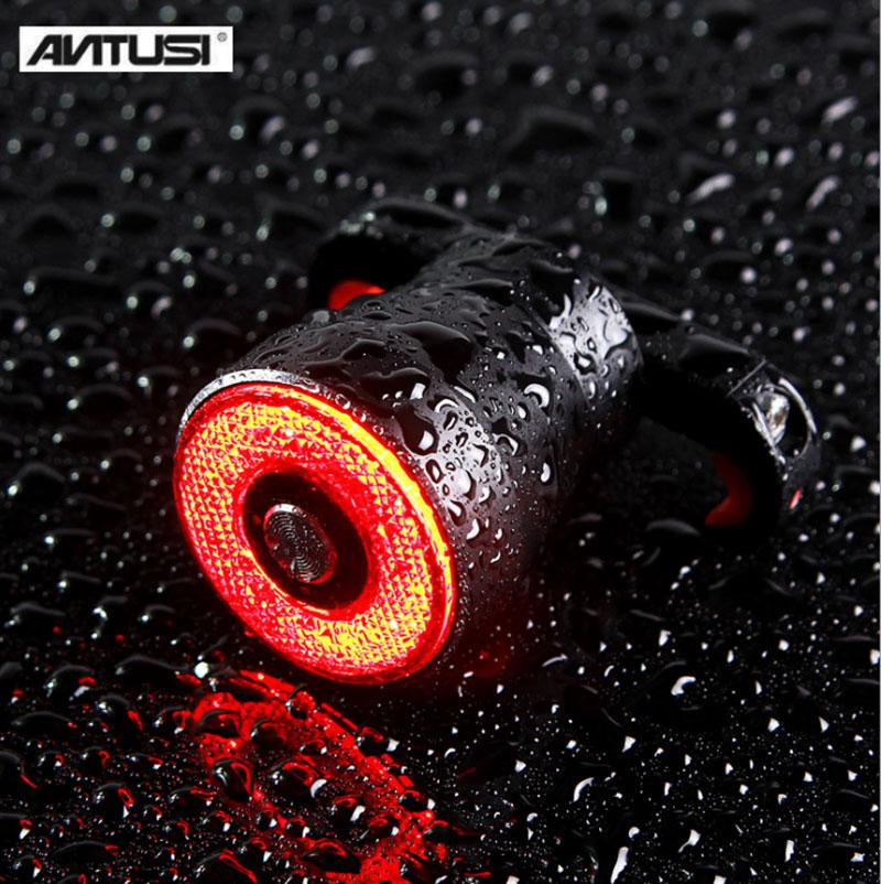 ANTUSI Smart Brake Tail Light LED Bike Flashlight For Bicycle Auto Start Stop Brake Sensing IPx6 Waterproof USB High Quality in Bicycle Light from Sports Entertainment
