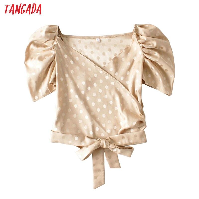 Tangada Women Retro Dots Print Crop Shirt With Bow Short Sleeve 2020 Summer Chic Female Sexy Slim Shirt Tops AI27