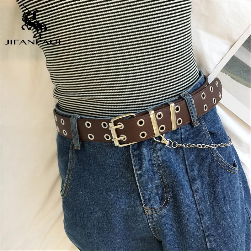 JIFANPAUL Belts For Women Genuine Leather Belts Chain Fashion Punk Style Pin Buckle Belt Luxury Brand Women Belts Free Shipping