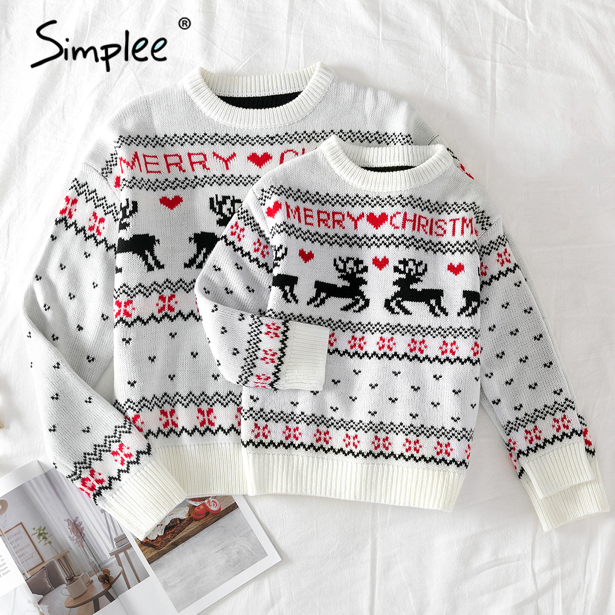 Simplee O-neck Christmas Sweater Family matching outfits Autumn winter Christmas deer print knitted pullovers 2020 New year