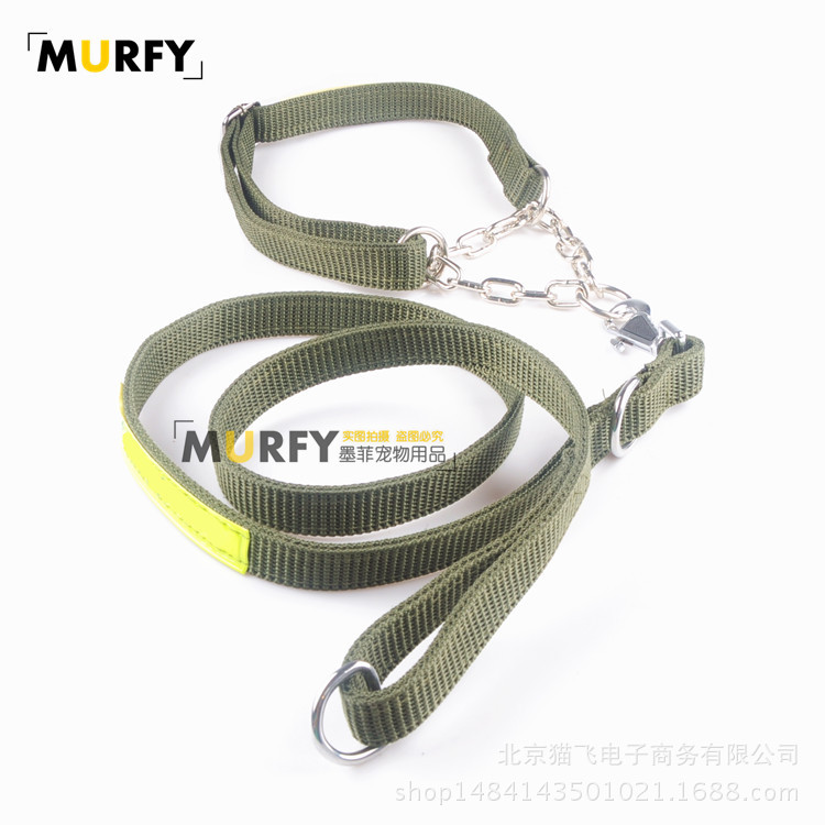 Working Dog German Shepherd Dog Horse Army Green Reflective Traction Belt Dog Neck Ring Hand Holding Rope Dog Rope Semi-P Pendan