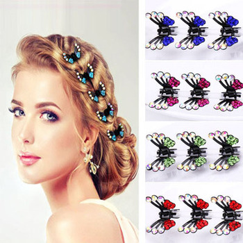 6PCS Fashion Girls Hair Accessories Hairpins Crystal Flower Mini Barrettes Gift for Kids Hair Claw Women Lovely Clip 6pcs pack crystal women flower hair claw hairpins hair accessories ornaments hair clips hairgrip for kids girl