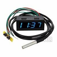 0 56 DC 0 30V Voltmeter Thermometer Uhr 3in1 Meter Gauge mit 1 Meter DS18B20 Temperatur Sensor Grün Blau rot Gelb Licht auf