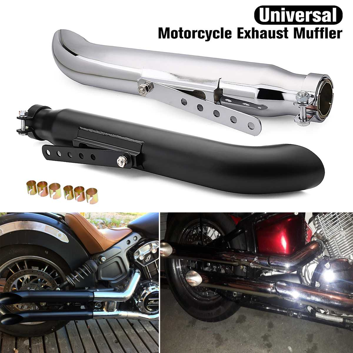 """Royal Enfield Exhaust Silencer 35-45mm Taper 15/""""Long Universal"""