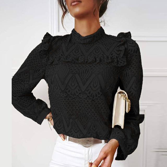 hirigin Autumn Elegant Lace Women Blouses Shirt Ruffles Long Sleeve Shirts Tops Office Lady Vintage O Neck Hollow Out Blusas 6