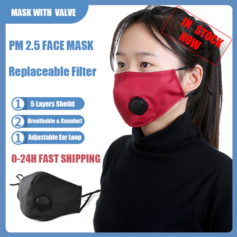 Breath Valve N95 Mask Fashion Unisex Cotton PM2.5 Mouth Mask Anti-Dust Anti Pollution Mask Cloth Activated Carbon Filter Respira