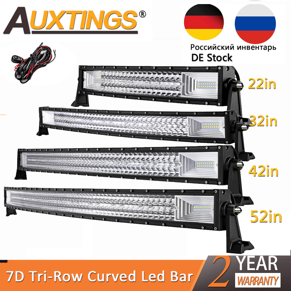 Auxtings 22 32 42 52'' Inch Triple Row Curved LED Light Bar Spot Flood Combo Work Light For 4WD 4x4 UAZ Truck Boat SUV ATV Car
