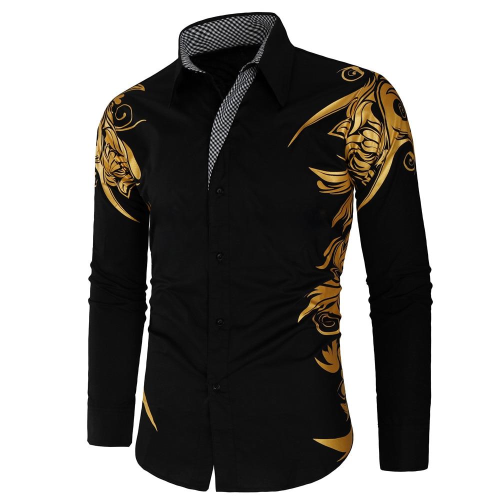 New Gold Bronzing Camisa Social Shirts Men Dress Slim Fit 2019 New Brand Long Sleeve Striped Shirt For Men Streetwear Shirts