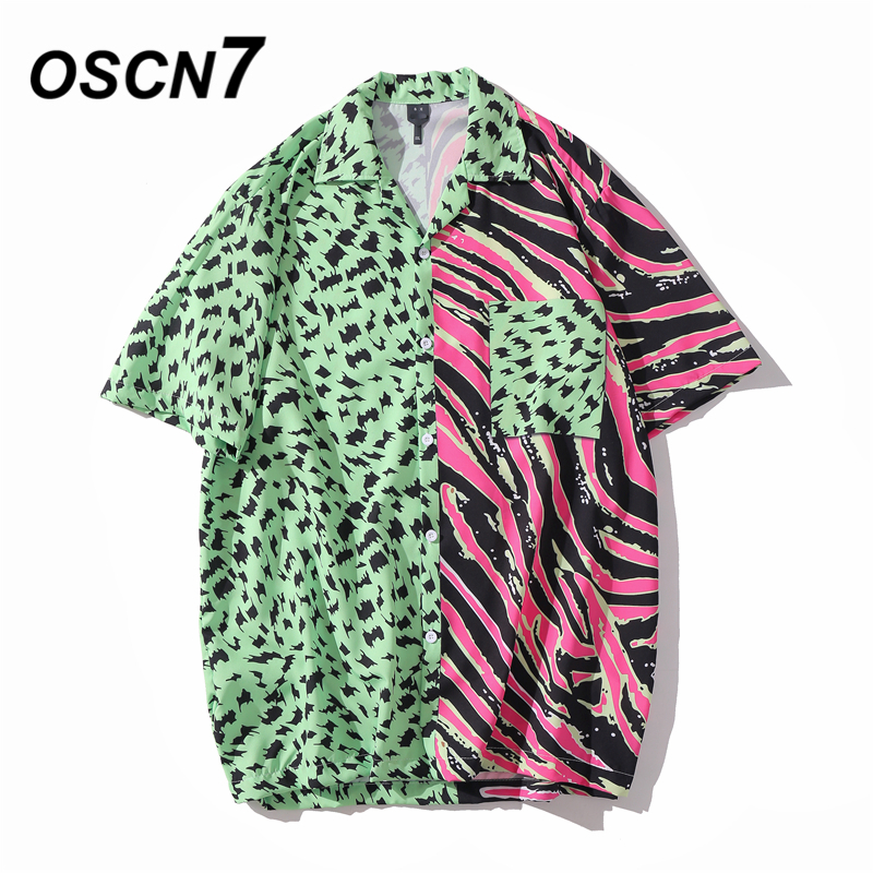 OSCN7 Casual Printed Short Sleeve Shirt Men Street 2020 Hawaii Beach Oversize Women Fashion Harujuku Shirts For Men XQ69