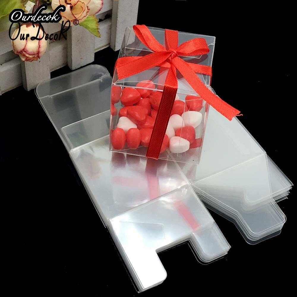 1000 sztuk kwadratowy pcv prezent urodzinowy Box Wedding Favor Holder cukierki czekoladowe pudełka pudełka czekoladek 5x5x5cm na DHL/EMS bezpłatny statku w Torby na prezenty i przybory do pakowania od Dom i ogród na  Grupa 2