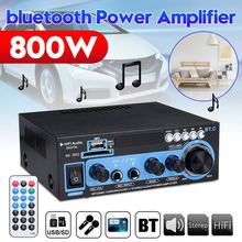 800W 2CH Mini bluetooth Audio Power Amplifier HIFI FM 110/220V 12V AUX USB SD 2 Mic input for Car Home Theater Amplifiers DJ KTV
