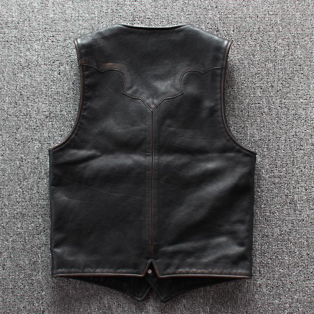 2019 Vintage Black Men American Style Slim Fit Leather Vest Plus Size 6XL Genuine Cowhide Spring Short Biker's Vest