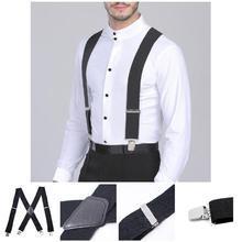 50mm Wide Elastic Adjustable Men Trouser Braces Suspenders X Shape with Strong Metal Clips