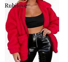 Rubilove Plus Size Fleece Faux Shearling Fur Jacket Coat Women Autumn Winter Plush Warm Thick Teddy Coat Female Casual Overcoat faux shearling hooded coat