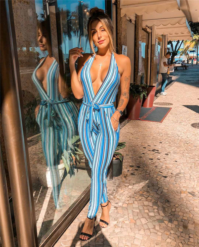 Women Striped Jumpsuits Sexy Halter Sleeveless Backless Deep V Bandage Jumpsuits Pockets Decor Ladies Summer Pencil Jumpsuits