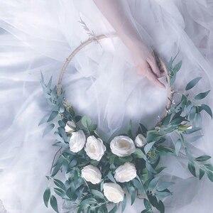 Image 5 - 10 30CM Metal doğal Rattan yapay Garland çiçek çelenk yılbaşı süsleri düğün parti kız gelin dekorasyon malzemeleri