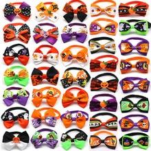 500pc Halloween noël vacances chien nœud papillon mignon cravates collier pour animaux de compagnie chiot chien chat cravates accessoires toilettage fournitures