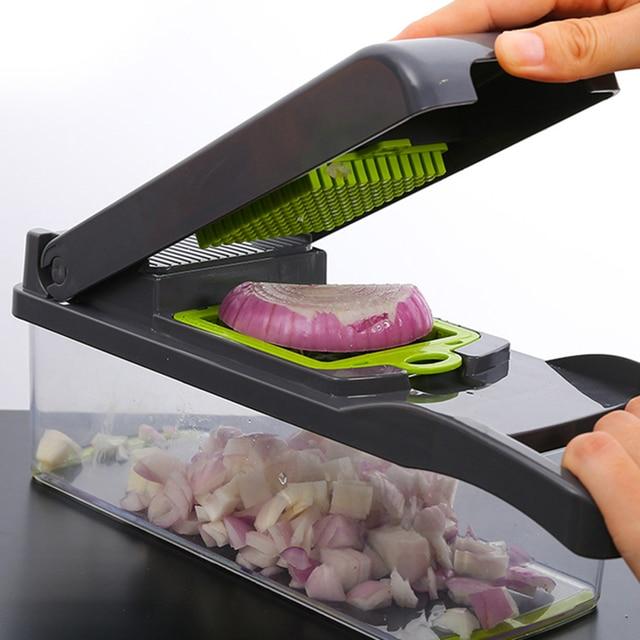 DEKO Vegetable Mandoline Cutter Fruit Slicer Multifunctional Potato Peeler Carrot Grater Kitchen Accessories with Drain Basket 2