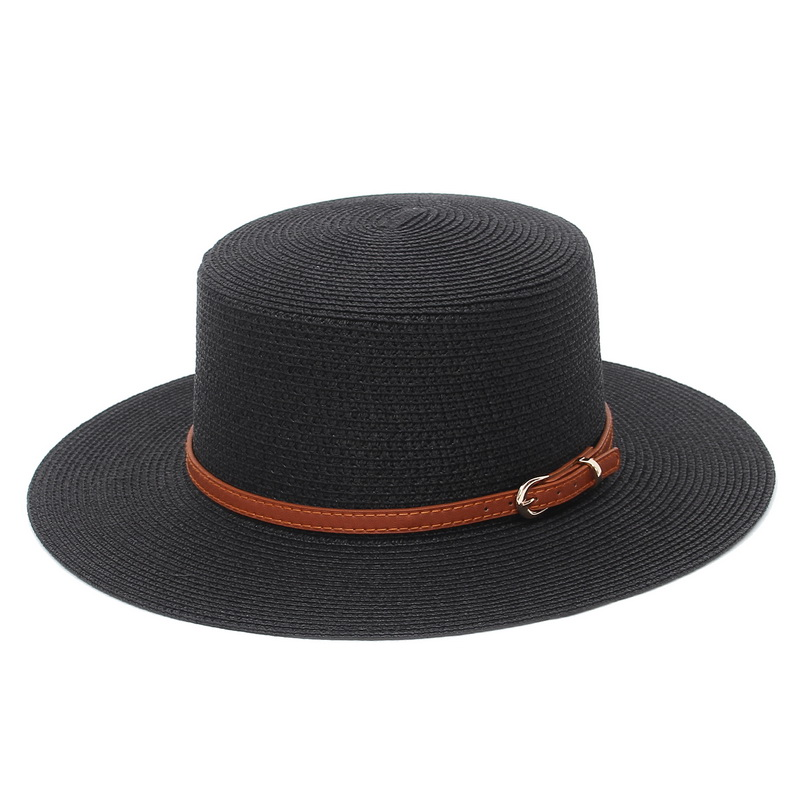 9 Colors Jazz Hat Flat Top Hat Leather Band For Women Men Summer Paper Hat Outdoor Travel Beach Cap Dropshipping