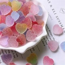 10Pcs/lot Simulation Heart Shape Candy Gummy DIY Resin Jewelry Accessories Cream Epoxy Mobile Shell Fudge Decoration