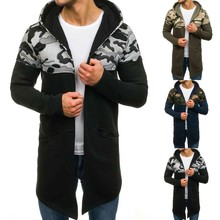 jackets Men Camouflage Hooded Trench Coat Cardigan Long Slee