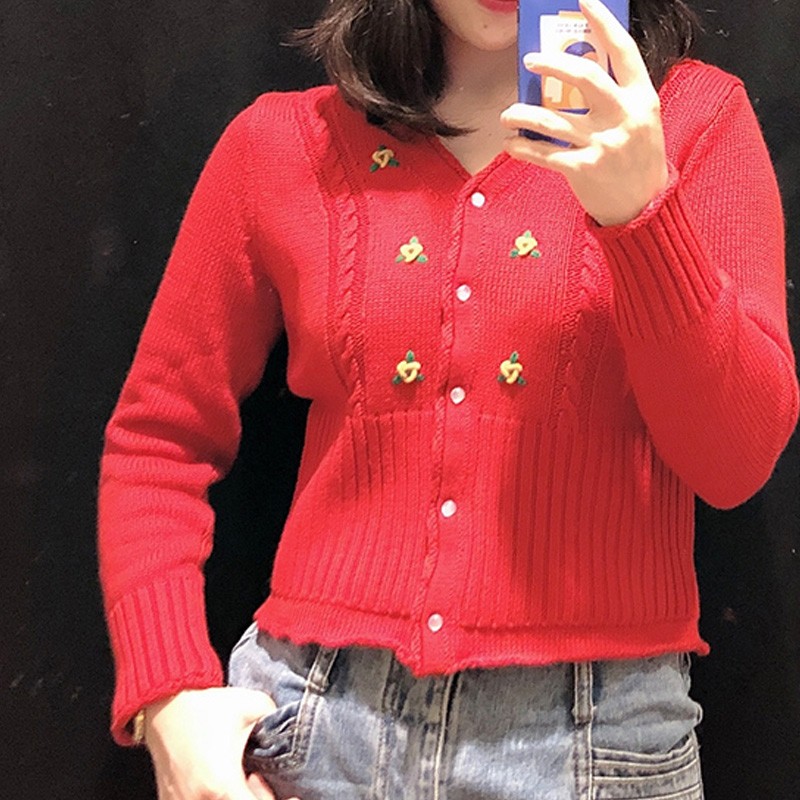 Women Sweater Spring New  Floral Embroidery V Neck Sweater Knit CardiganPullovers