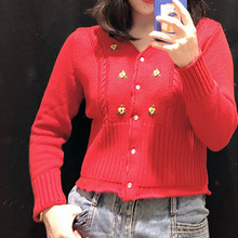 Women Sweater Spring New  Floral Embroidery V Neck Sweater Knit Cardigan