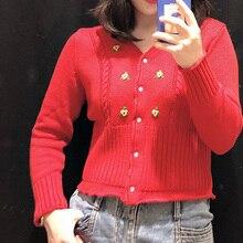 女性セーター春の新花刺繍vネックセーターニットカーディガン