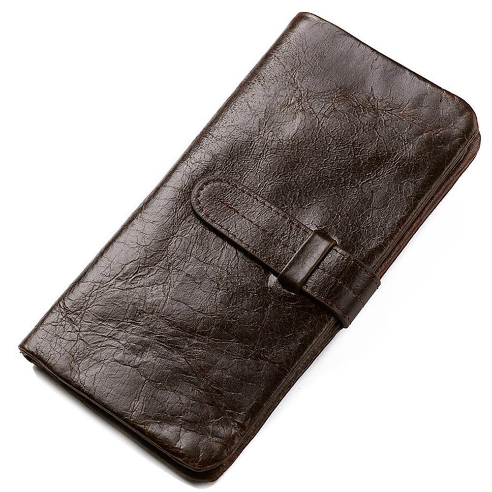 Genuine Leather Wallet Men Soft Skin Coin Pocket Purse Long Female Purse Trendy Retro High Capacity Zipper Men's Wallet 003B