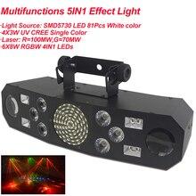 المهنية 5IN1 نمط تأثير RGBW الصوت ستار زوبعة جهاز عرض ليزر المرحلة ديسكو DJ نادي بار KTV الأسرة كشاف إضاءة للحفلات المعرض