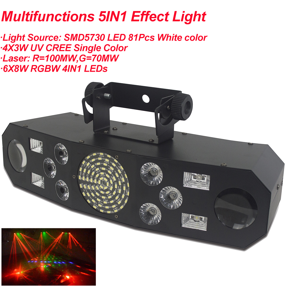 Professional 5IN1 Pattern Effect RGBW Audio Star Whirlwind Laser Projector Stage Disco DJ Club Bar KTV Family Party Light Show