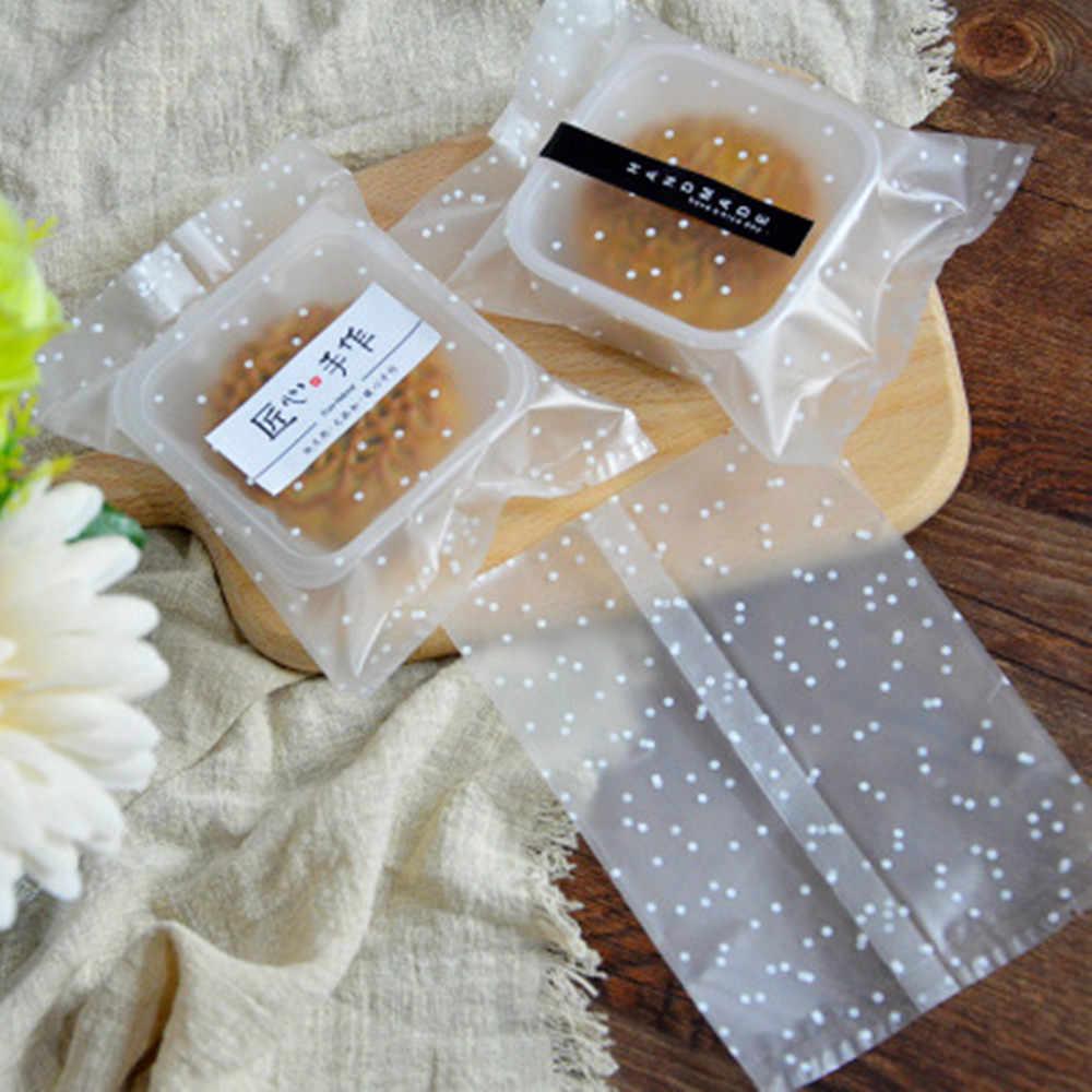 100Pcs Plastic Self Adhesive Polka Dot Cellophane Cookies Candy Bag Party ZE
