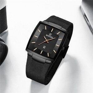 Image 4 - REWARD Ultra thin Square Quartz Watch Men Watches relogio masculino Top Luxury Wrist Watches Steel Waterproof Male Clock