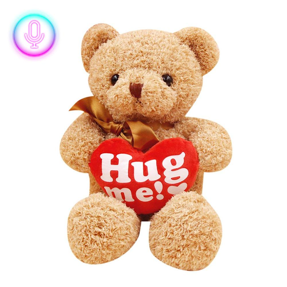 New 38cm Big Cute Cuddly Bear Recorded And Talking Teddy Bear Personalized Plush Stuffed Toy Baby And Boyfriend Girlfriend Gift