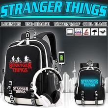 Светящийся рюкзак BPZMD, многофункциональный дорожный холщовый школьный ранец для мальчиков и девочек подростков с USB зарядкой и надписью «очень странные дела»
