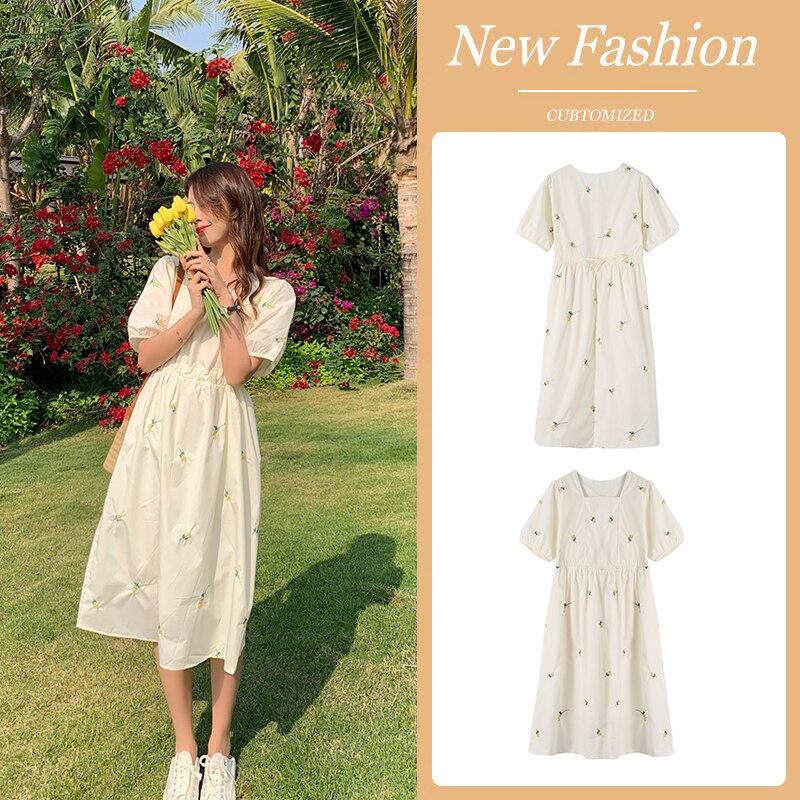 vestido longo de maternidade elegante moda coreana 01