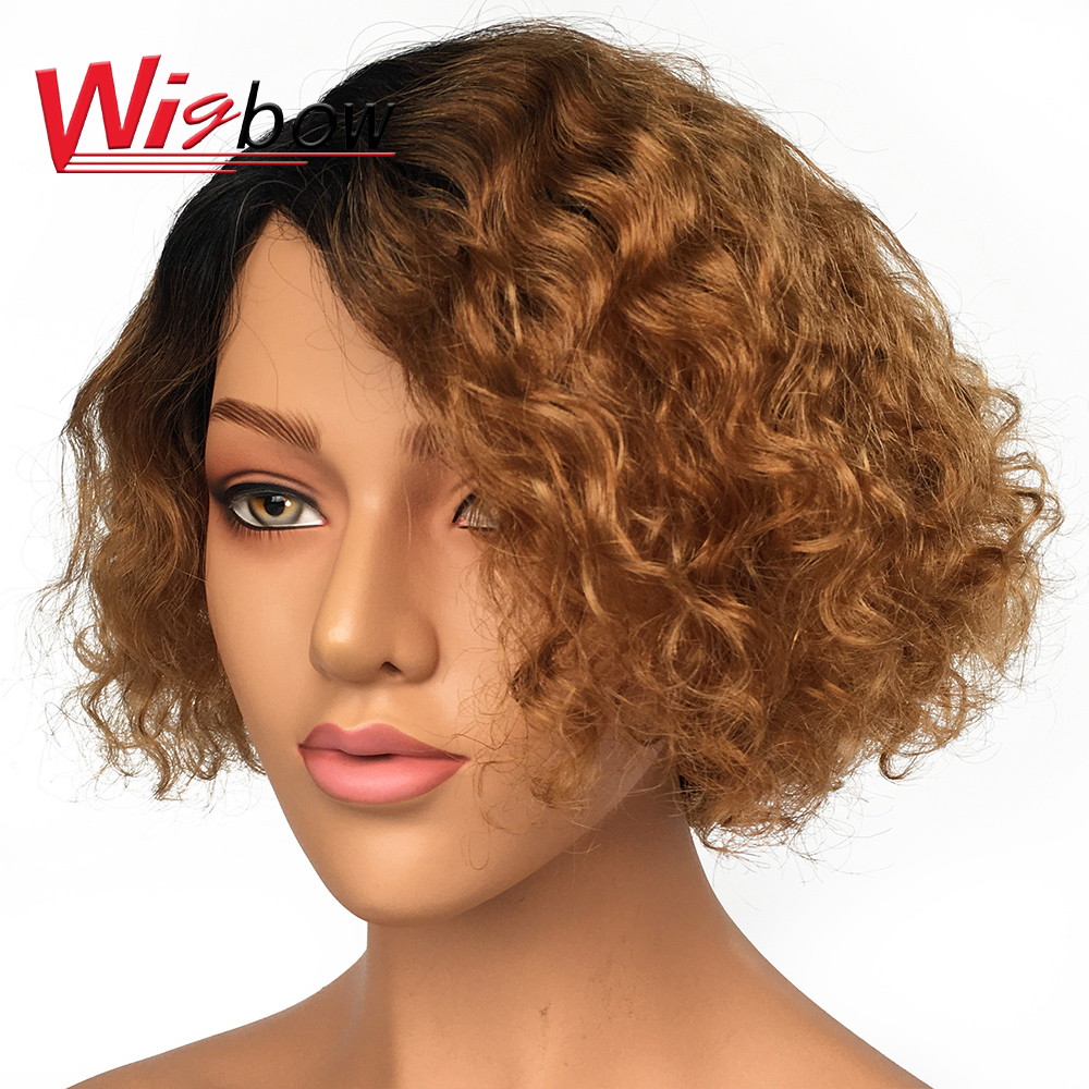 Deep Wave Human Hair Wig For Women Ombre Human Hair Wig Pre Plucked With Baby Hair Brazilian Human Hair Deep Wave Wig Free Ship