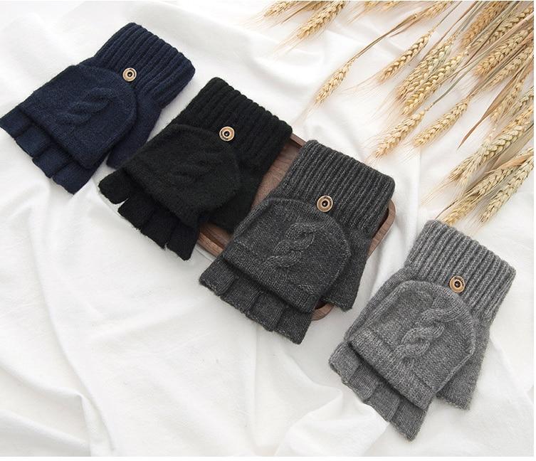 Winter Warm And Cold Proof Korean Version Plush Thickened Cotton Wool Half Open Finger Half Finger Winter Men's Gloves