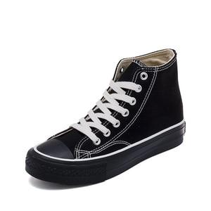 Image 5 - النساء أحذية 2020 ربيع جديد عالية أعلى حذاء مسطح أحذية بلون عادي الإناث شخصية الاتجاه حذاء قماش أحذية رياضية النساء