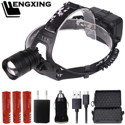 FX-DZ90 CREE XLamp XHP70 LED headlamp Powerful headlight zoom lens 18650 rechargeable battery head flashlight lamp torch