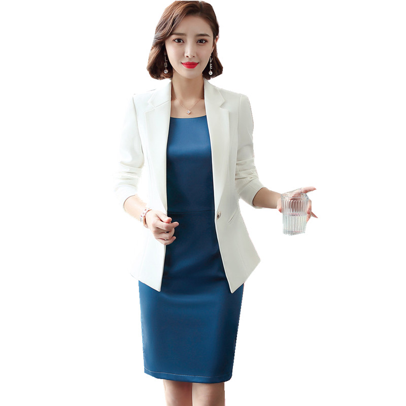 Plus Size Formal Blazer Dress Suits Women 2 Piece Office Work Wear White Jacket Pencil Dress Set Elegant Ladies Outfits 88190