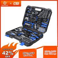PROSTORMER 198Pcs Hand Tool Set DIY Home Repair Tool Kit Woodworking Tools Bag Car Repair Tool Set Wrench Saw Screwdriver Knife