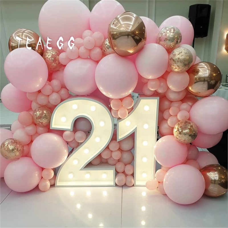 120pcs Pastel Macaron Pink Gold Ballon Decoration Backdrop Rose Gold 4d Foil Balloons Garland Arch Kit For Wedding Party Globo