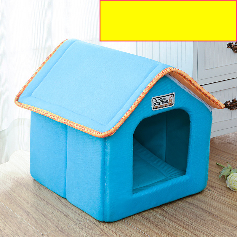 Pet House Foldable Bed With Mat Soft Winter Leopard Dog Puppy Sofa Cushion House Kennel Nest Dog Cat Bed For Small Medium Dogs 5