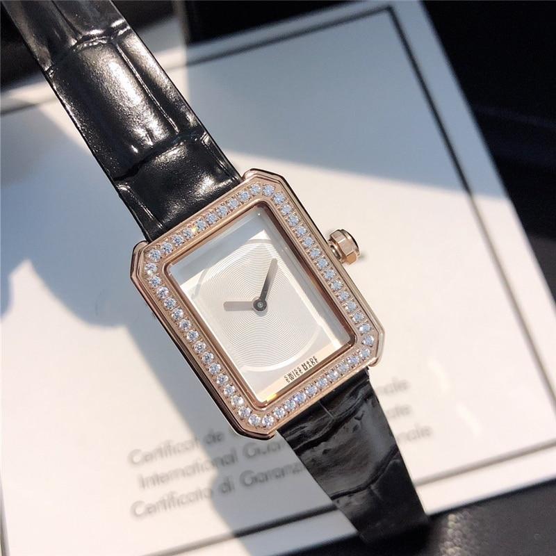 Brand C Quartz Rectangular Dial Watch  Genuine Leather Band  Waterproof Female Watch Micro Zircon Glitter Simple OL Wrist Watch
