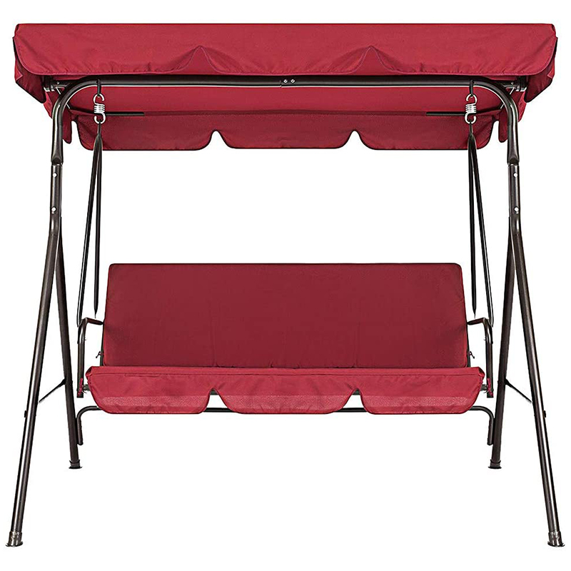Terrace Swing Chair 2 Pieces / Set Universal Garden Chair Dustproof 3-Seater Outdoor (Red Cover)