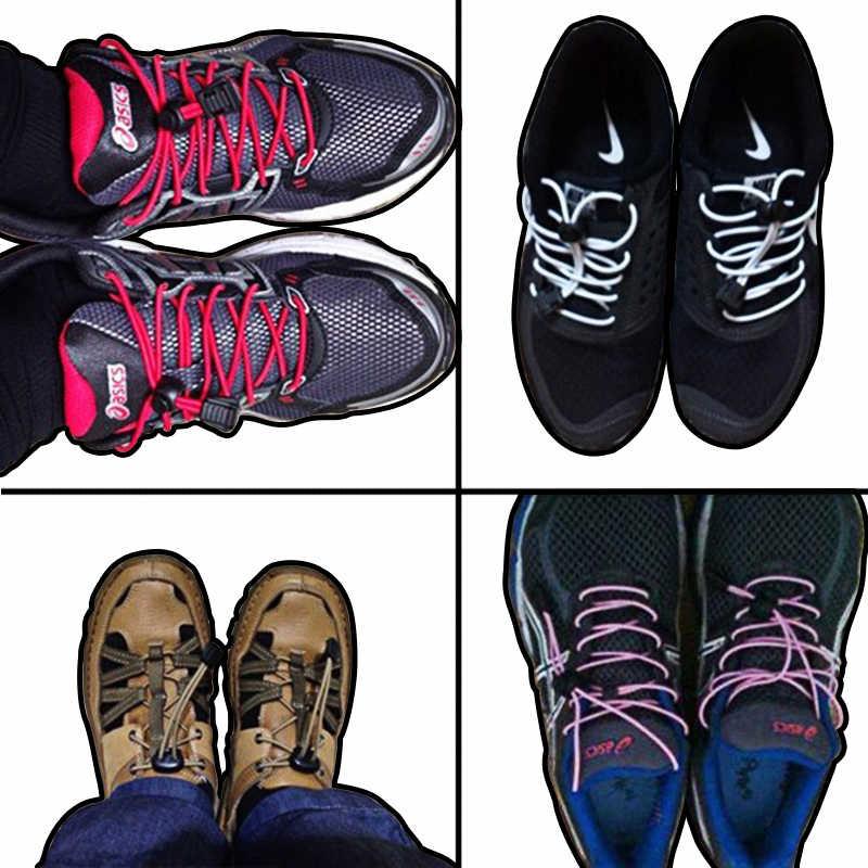 2018 مطاطا لا التعادل قفل أربطة أحذية حذاء رياضة كسول أربطة حذاء مرنة مضيئة حذاء الدانتيل قفل الأربطة و رباط الحذاء المستديرة