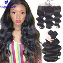 Bundles Hair-Weave Closure-Frontal Human-Hair Sapphire Brazilian with 8-36-