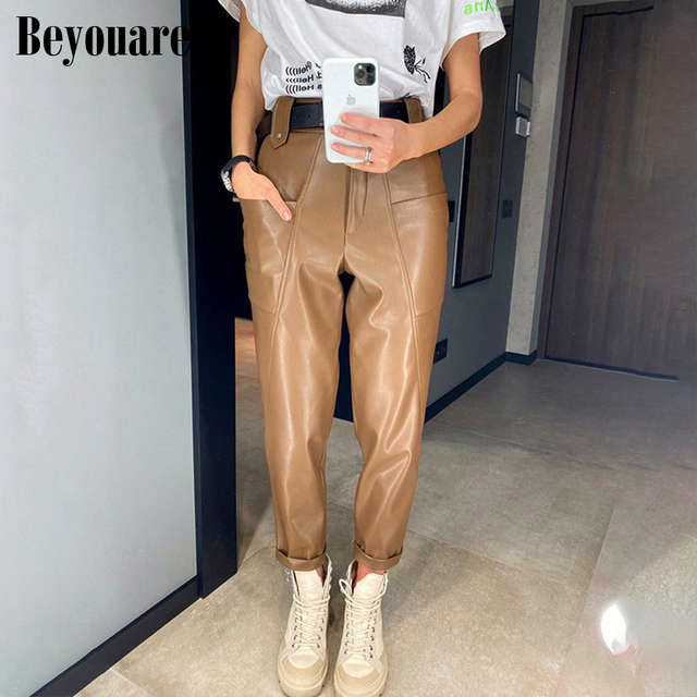 Beyouare Faux Leather Trousers Vintage Casual PU Women High Waist Big Pockets Straight Pant 2020 Autumn Elegant Lady Pant Capris